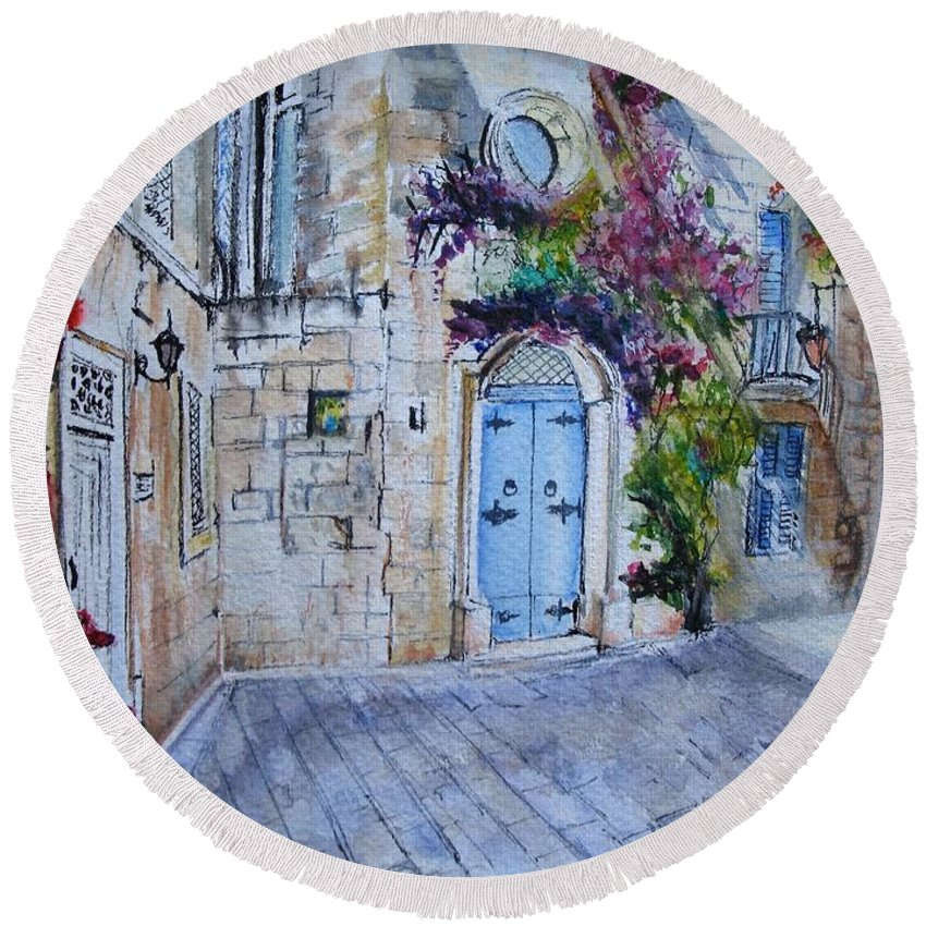 Red Round Beach Towel featuring the painting Malta Courtyard by Lisa Cini