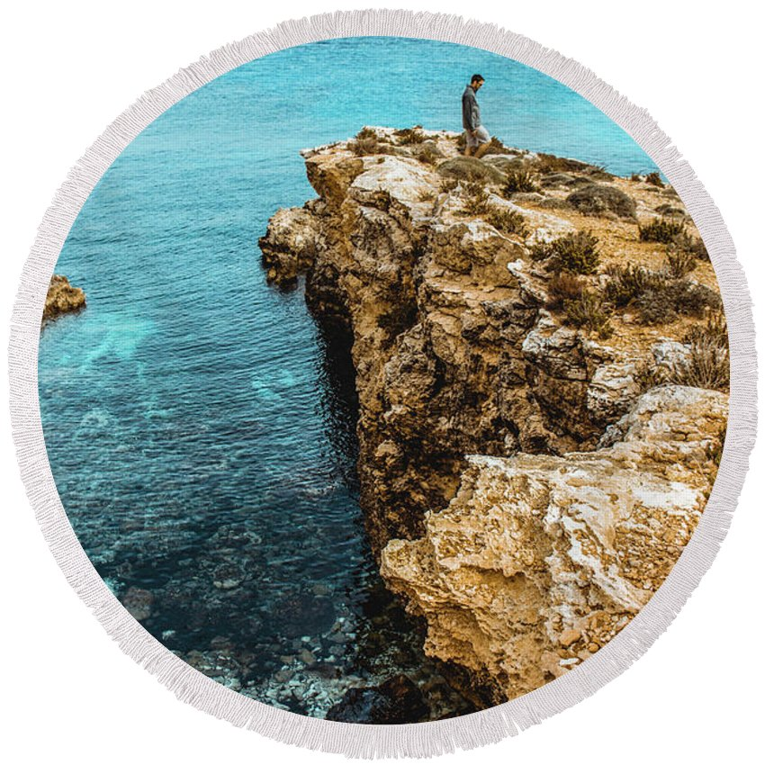 Malta Round Beach Towel featuring the photograph Maltese Dream by Madison Speer