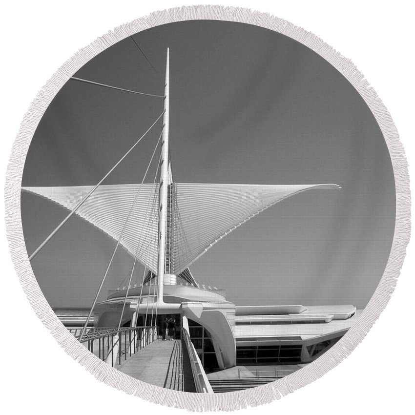 Mam Round Beach Towel featuring the photograph Mam Wings Spread B-w by Anita Burgermeister