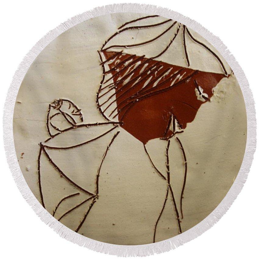 Jesus Round Beach Towel featuring the ceramic art Mama 2 - Tile by Gloria Ssali