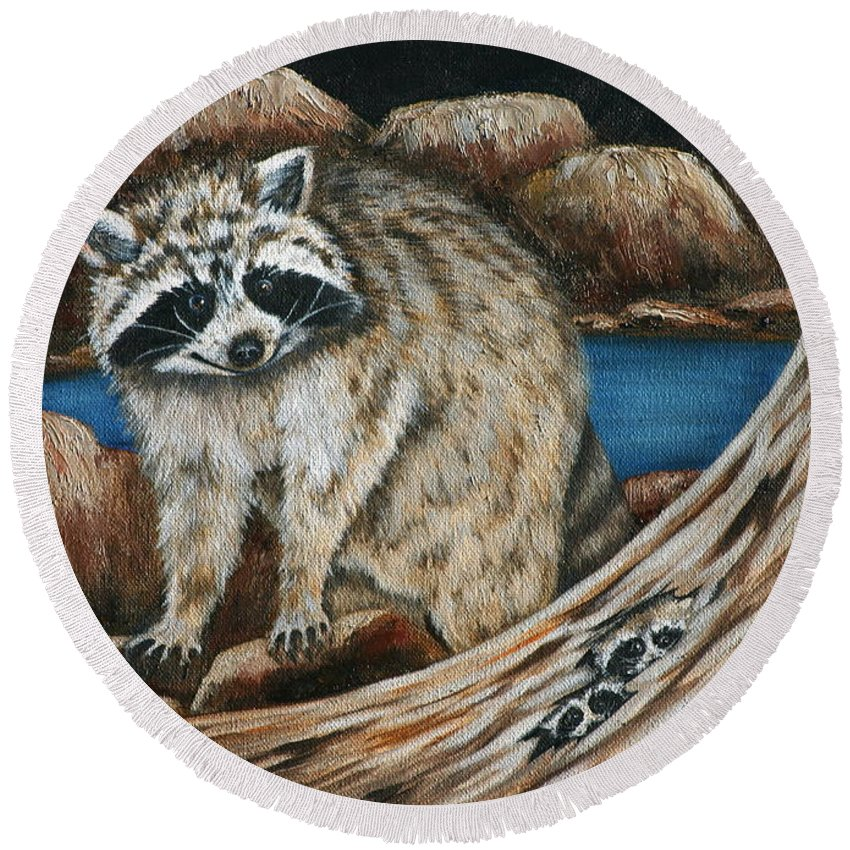 Racoon Round Beach Towel featuring the painting Mama Racoon by Ruth Bares