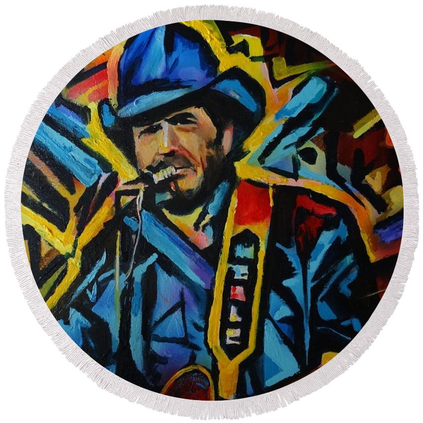 Merle Haggard Round Beach Towel featuring the painting Mamma Tried by Eric Dee