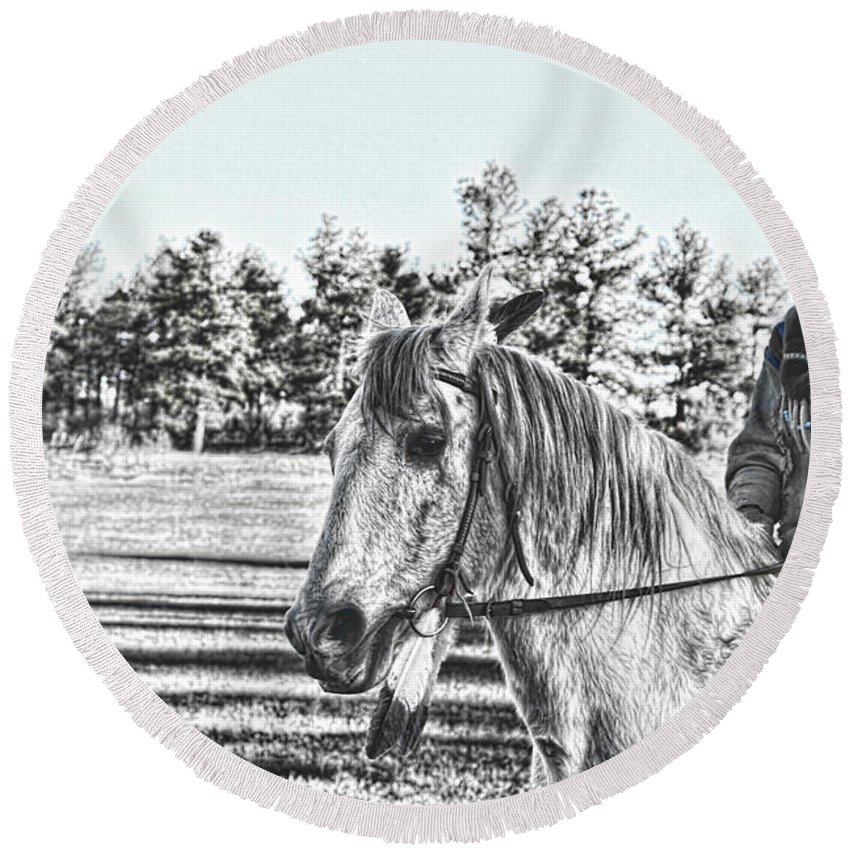 Rides His Horse Round Beach Towel featuring the photograph Man And His Horse by Samantha Burrow
