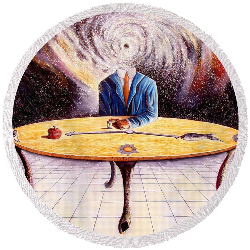 Surrealism Round Beach Towel featuring the painting Man Attempting To Comprehend His Place In The Universe by Darwin Leon