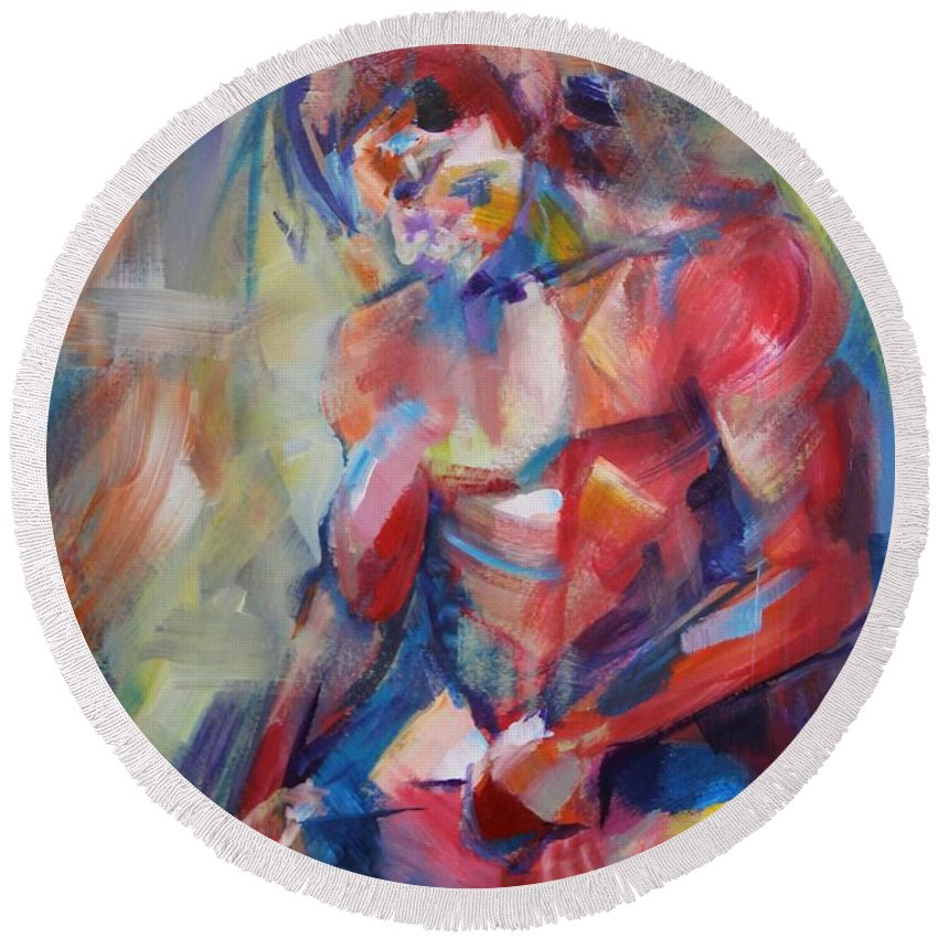 Man Round Beach Towel featuring the painting Man Body #2 by Dima Mogilevsky