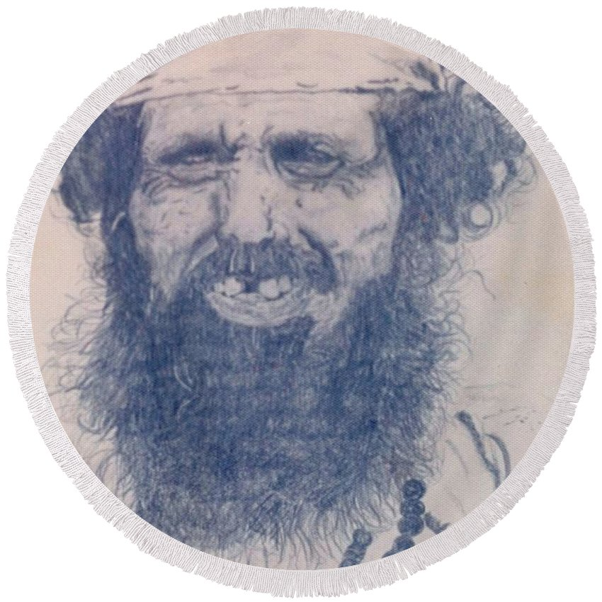 Pencil Portrait Round Beach Towel featuring the drawing Man From Madigascar by Ron Bissett