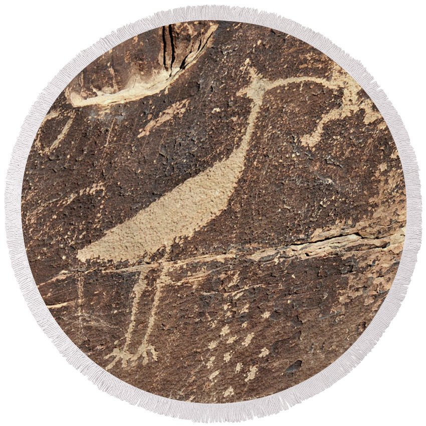 Petroglyph Round Beach Towel featuring the photograph Man In Beak by David Arment