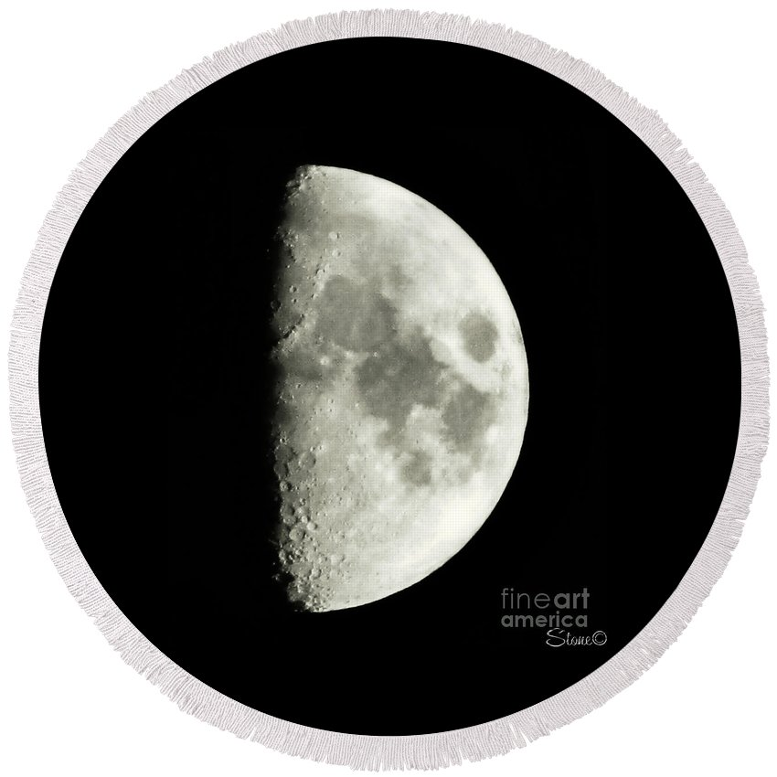 Lunar Round Beach Towel featuring the photograph Man In The Moon by September Stone