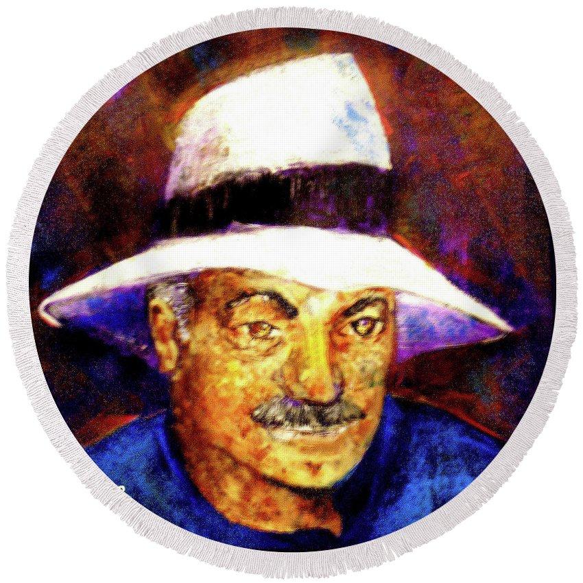 Man In The Panama Hat Round Beach Towel featuring the painting Man In The Panama Hat by Seth Weaver