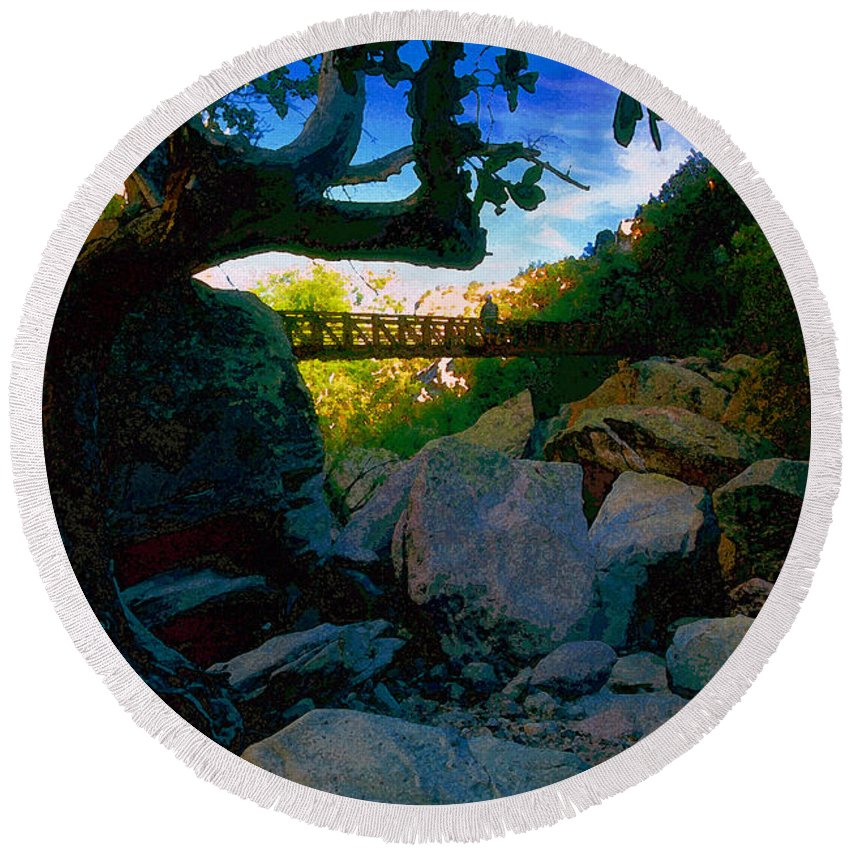 Man Round Beach Towel featuring the painting Man On The Bridge by David Lee Thompson