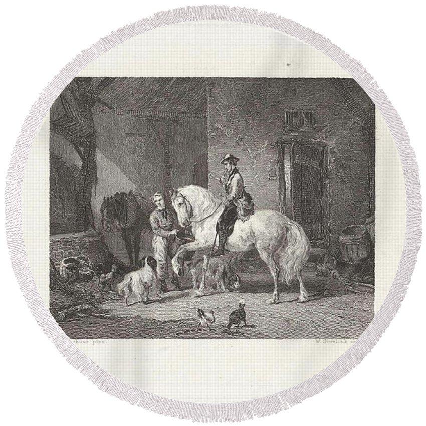 Man Te Paard In Een Stal Round Beach Towel featuring the painting Man Te Paard In Een Stal by Willem Steelink