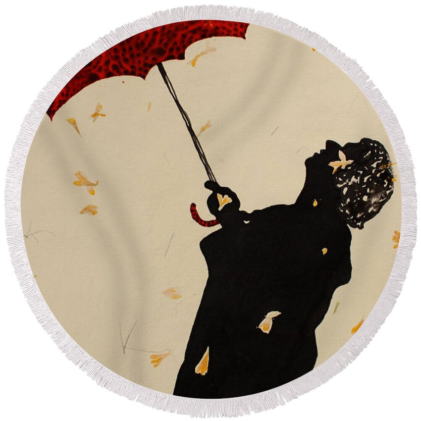 Man Round Beach Towel featuring the painting Man With Red Umbrella  by Santhosh Ch