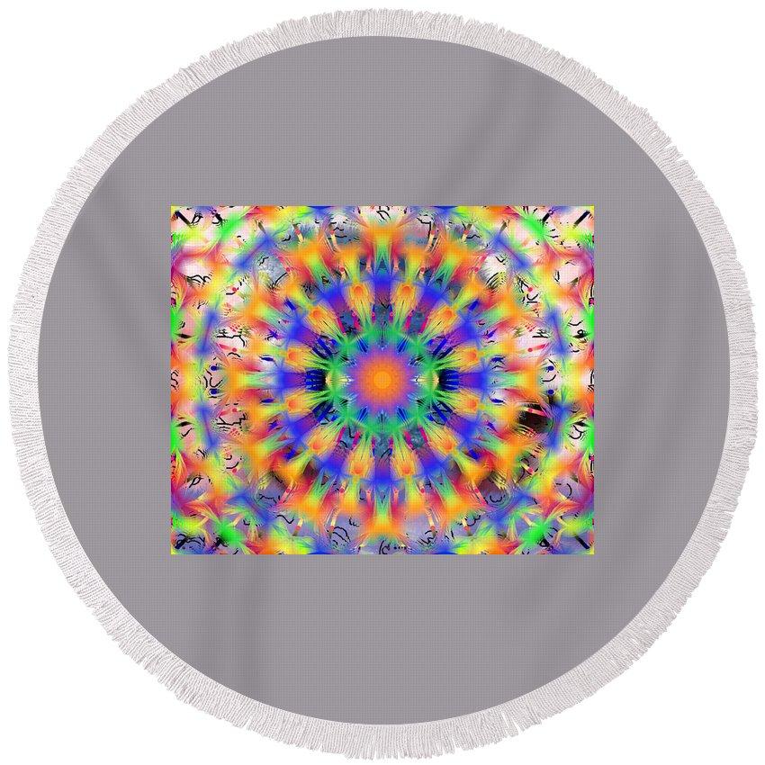 Mandala 4 Round Beach Towel featuring the digital art Mandala 4 by Catherine Lott