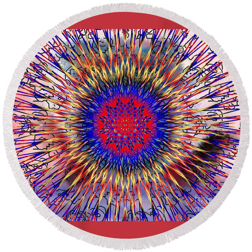 Mandala 7 Round Beach Towel featuring the painting Mandala 7 by Catherine Lott
