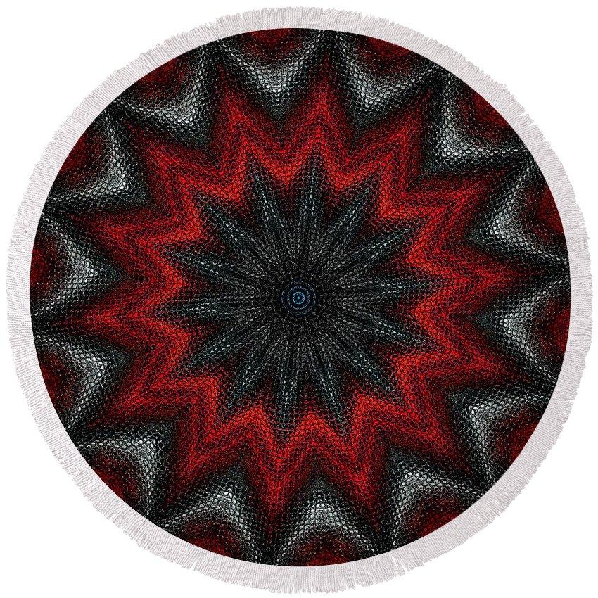 Digital Painting Round Beach Towel featuring the digital art Mandala by David Lane