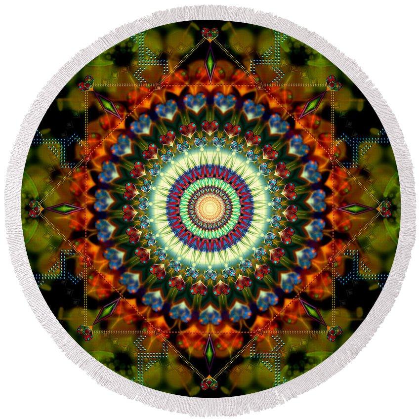 Mandala Round Beach Towel featuring the digital art Mandala Of Loves Journey by Stephen Lucas