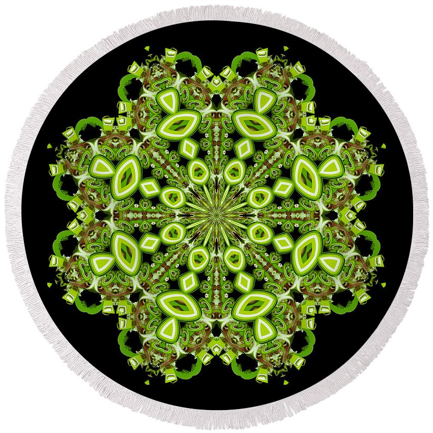 Green Round Beach Towel featuring the digital art mandala - Revival-2201- 02gb by Variance Collections