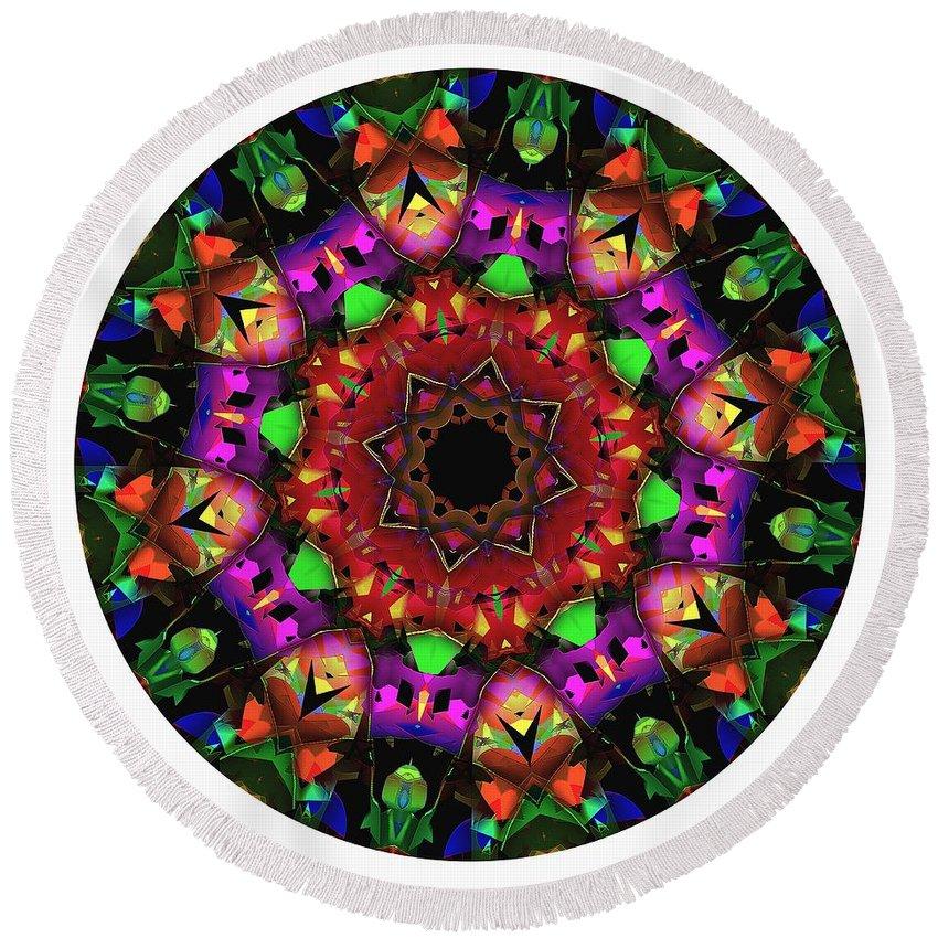Talisman Round Beach Towel featuring the digital art Mandala - Talisman 1102 - Order Your Talisman. by Marek Lutek