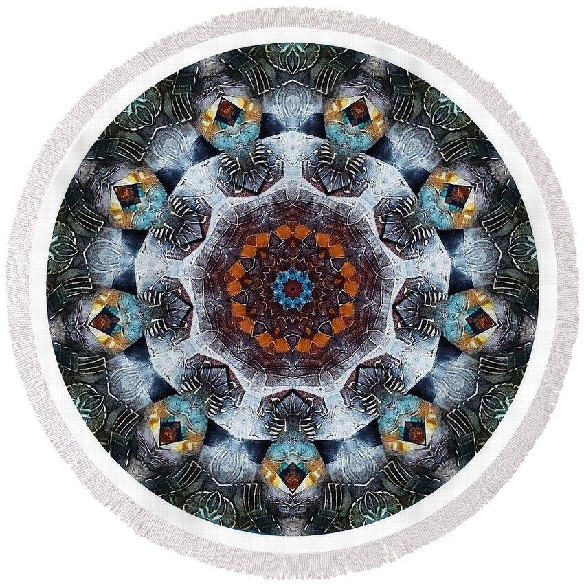 Talisman Round Beach Towel featuring the digital art Mandala - Talisman 1111 - Order Your Talisman. by Marek Lutek