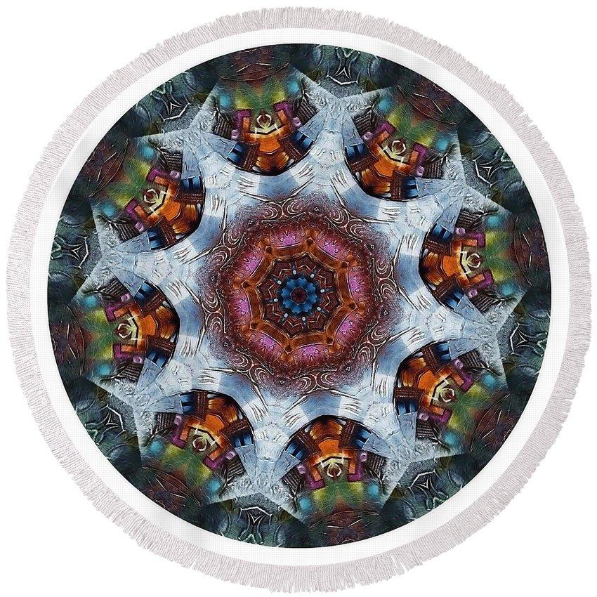 Talisman Round Beach Towel featuring the digital art Mandala - Talisman 1112 - Order Your Talisman. by Marek Lutek