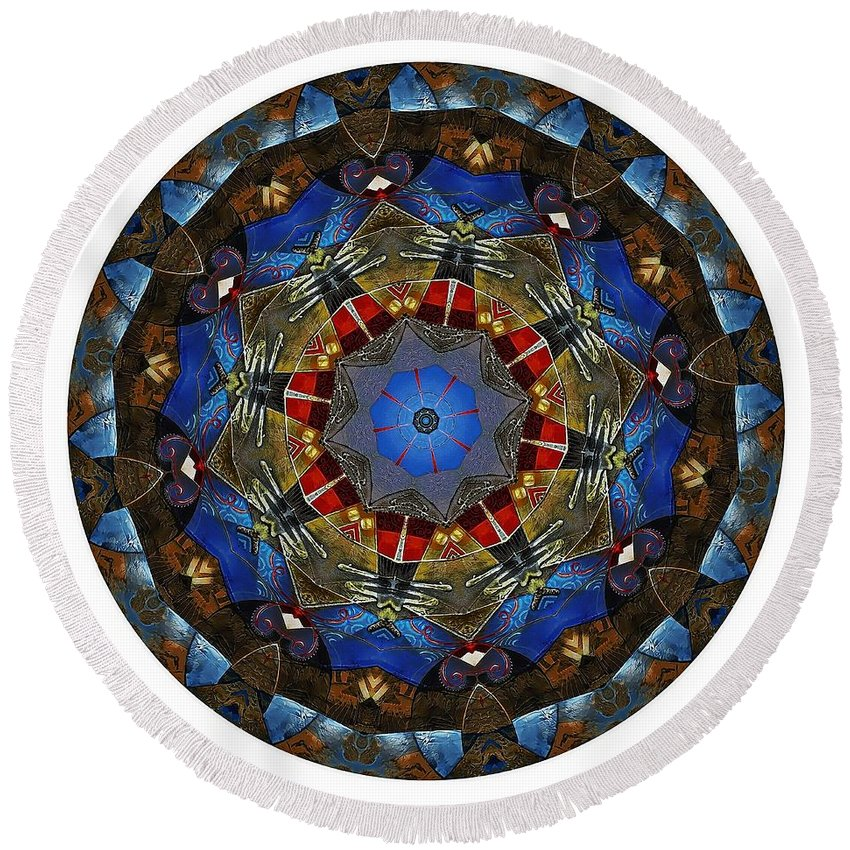 Talisman Round Beach Towel featuring the digital art Mandala - Talisman 1122 - Order Your Talisman. by Marek Lutek