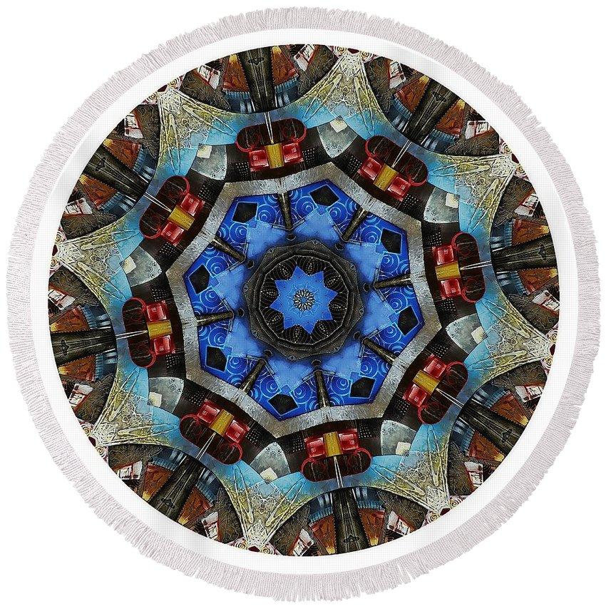 Talisman Round Beach Towel featuring the digital art Mandala - Talisman 1124 - Order Your Talisman. by Marek Lutek