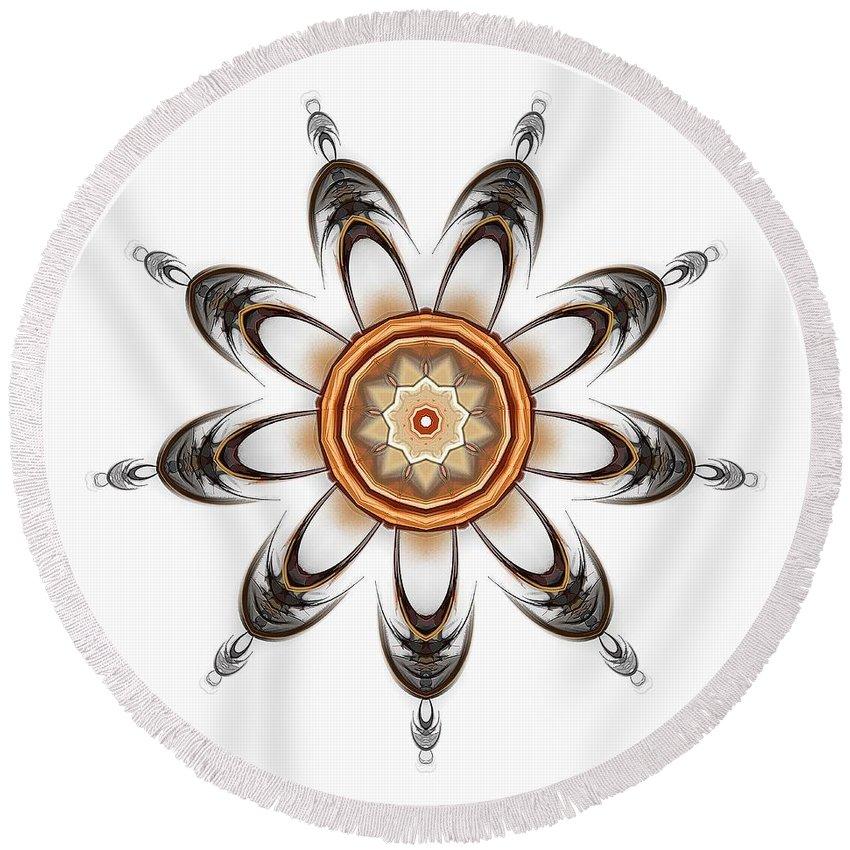 Talisman Round Beach Towel featuring the digital art Mandala - Talisman 1630 by Marek Lutek