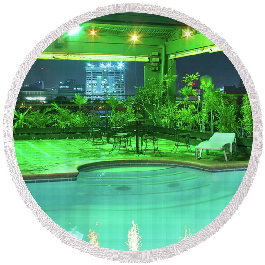 Insogna Round Beach Towel featuring the photograph Mango Park Hotel Roof Top Pool by James BO Insogna