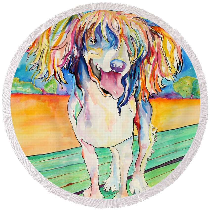 Chinese Crested Round Beach Towel featuring the painting Mango Salsa by Pat Saunders-White