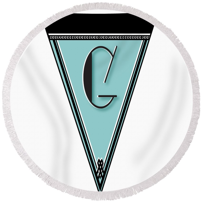 Banner Round Beach Towel featuring the digital art Pennant Deco Blues Banner Initial Letter G by Cecely Bloom