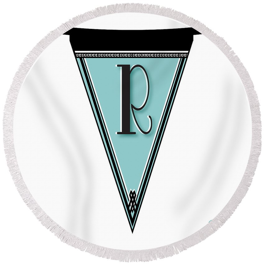Banner Round Beach Towel featuring the digital art Pennant Deco Blues Banner Initial Letter R by Cecely Bloom