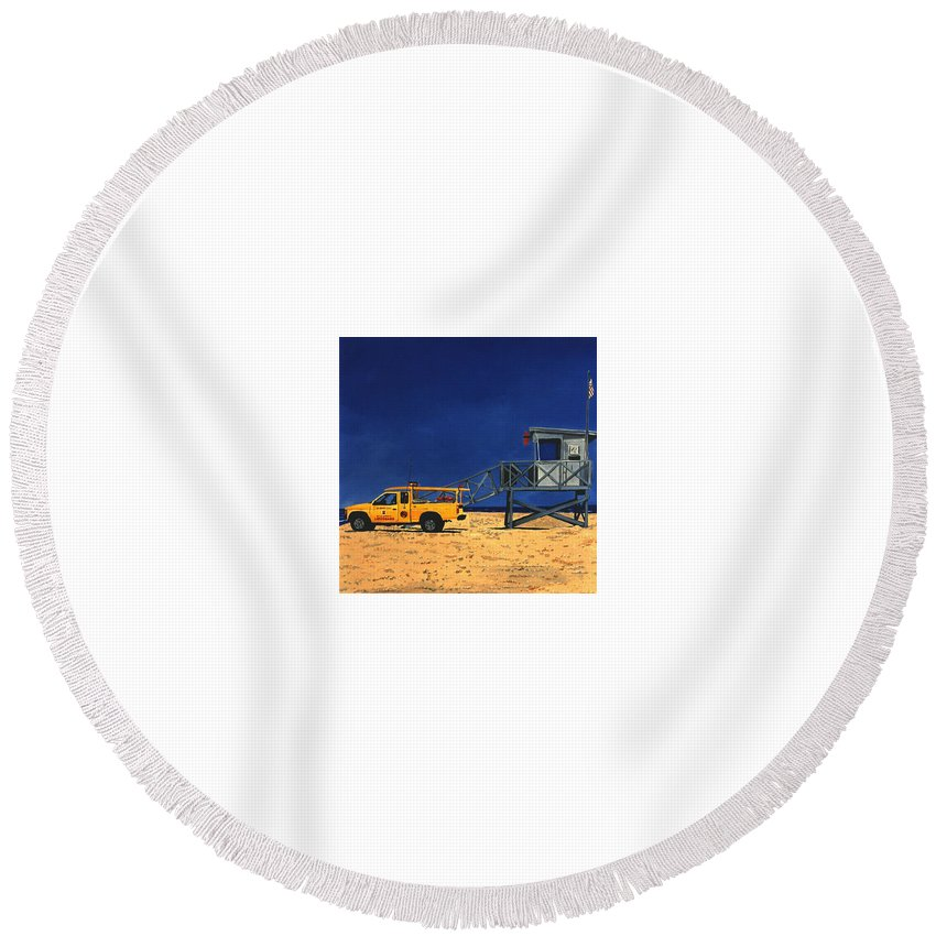 Modern Round Beach Towel featuring the painting Manhattan Beach Lifeguard Station Side by Lance Headlee