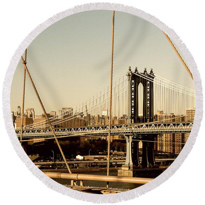 Brooklyn Bridge Round Beach Towel featuring the photograph Manhattan Bridge From The Brooklyn Bridge by Alissa Beth Photography