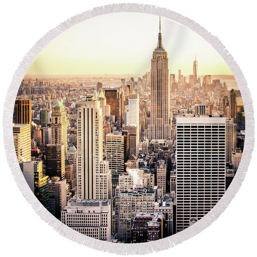 Nyc Round Beach Towel featuring the photograph Manhattan by Michael Weber