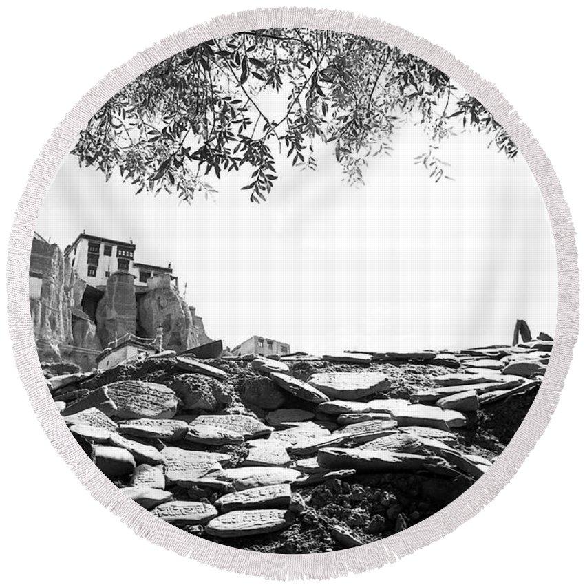Lamayuru Round Beach Towel featuring the photograph Mani Stones by Patrick Klauss