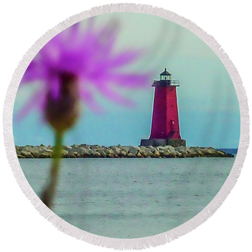 Manistique Round Beach Towel featuring the photograph Manistique by Craig David Morrison