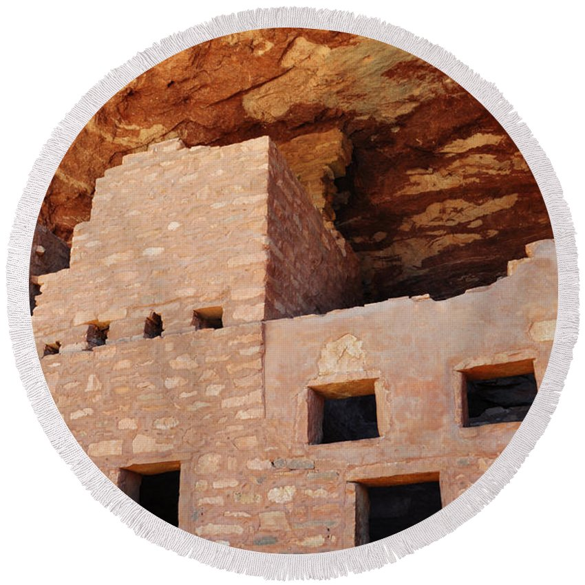 Manitou Cliff Dwellings Round Beach Towel featuring the photograph Manitou Cliff Dwellings Portrait by Kyle Hanson