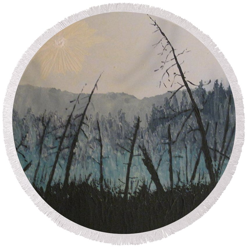 Northern Ontario Round Beach Towel featuring the painting Manitoulin Beaver Meadow by Ian MacDonald