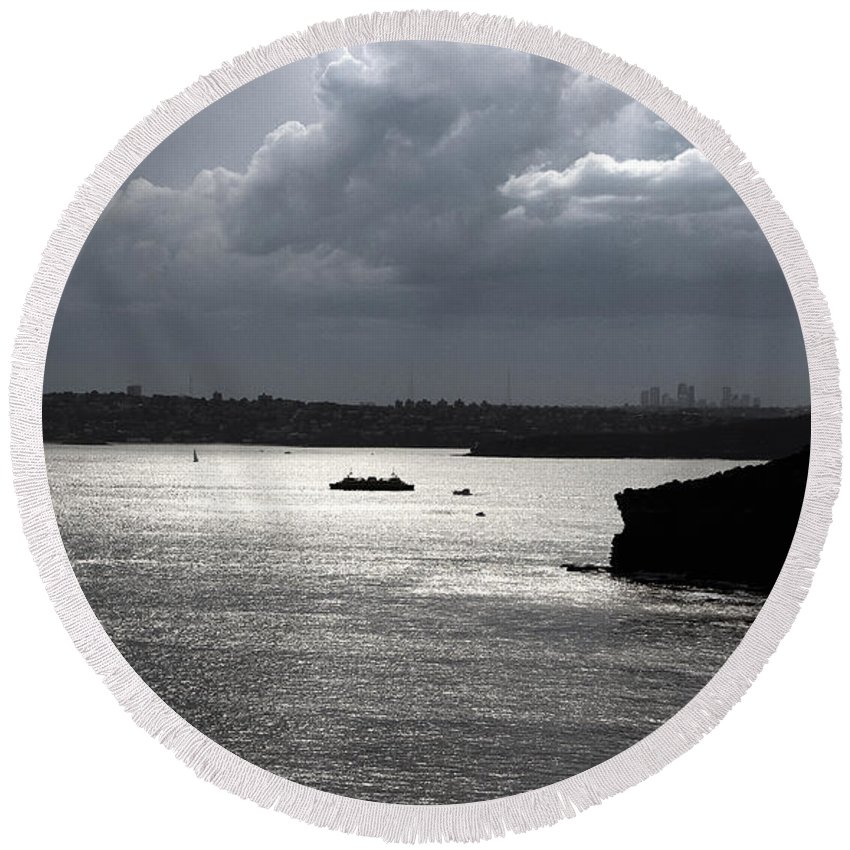 Manly Round Beach Towel featuring the photograph Manly Ferry And Storm Clouds by Miroslava Jurcik