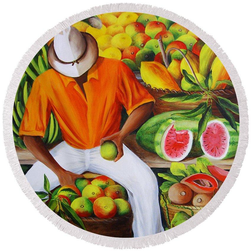 Caribbean Round Beach Towel featuring the painting Manuel The Caribbean Fruit Vendor by Dominica Alcantara