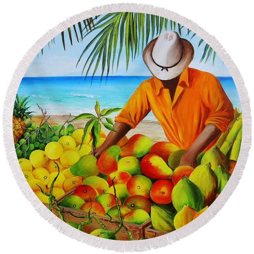 Beach Round Beach Towel featuring the painting Manuel The Fruit Vendor At The Beach by Dominica Alcantara