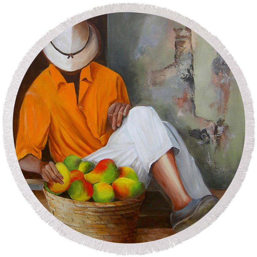 Manuel Round Beach Towel featuring the painting Manuel The Fruit Vendor Resting by Dominica Alcantara