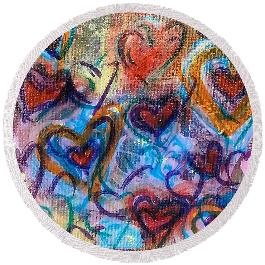 Hearts Round Beach Towel featuring the mixed media Many Hearts by Jan Pellizzer