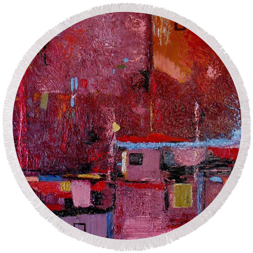 Abstract Round Beach Towel featuring the painting Many Mansions by Ruth Palmer