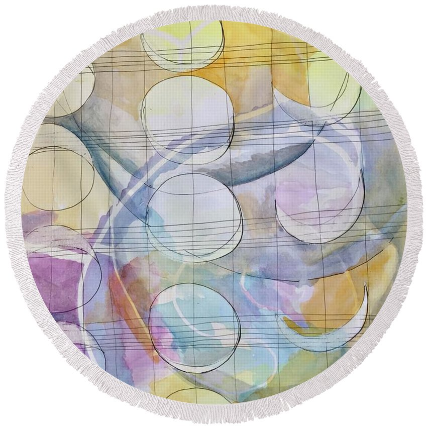 Moon Round Beach Towel featuring the painting Many Moons by Lauren Rader