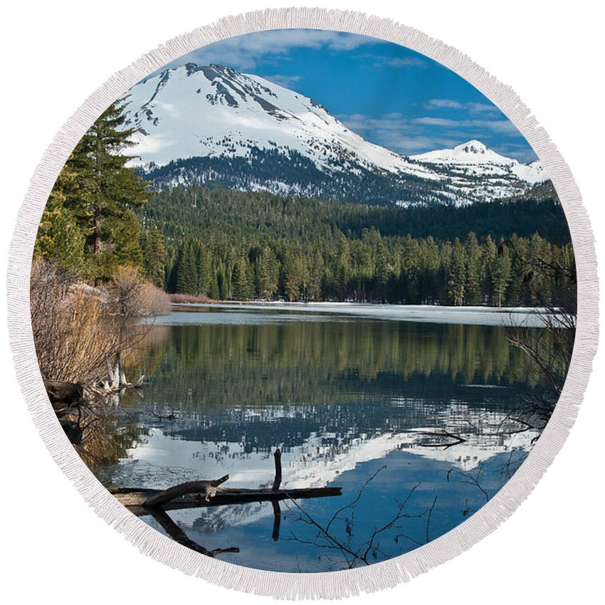 Lake Round Beach Towel featuring the photograph Manzanita Lake Reflects On Mount Lassen by Greg Nyquist