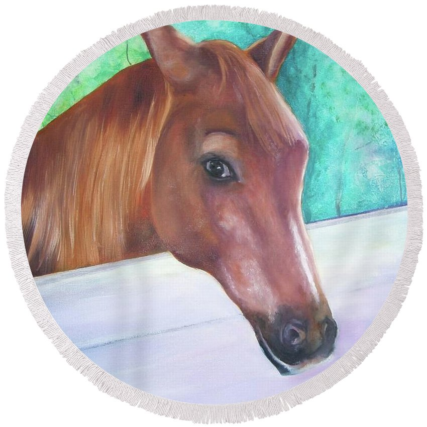 Horse Round Beach Towel featuring the painting Major by Connie Townsend