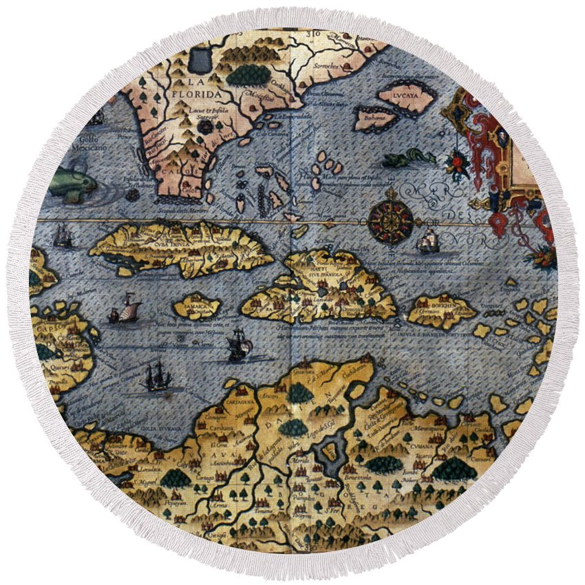 1591 Round Beach Towel featuring the photograph Map: Caribbean, C1591 by Granger