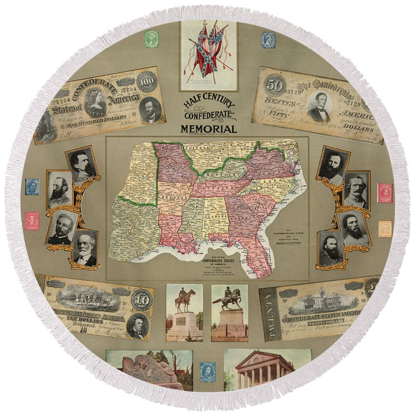 1910 Round Beach Towel featuring the photograph Map: Confederate States by Granger