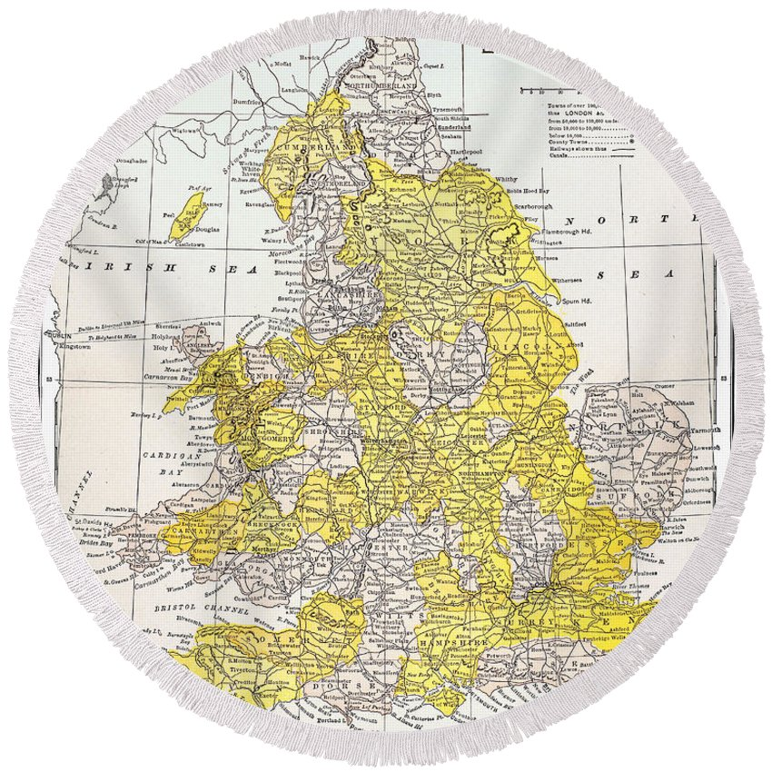 19th Century Round Beach Towel featuring the photograph Map: England & Wales by Granger